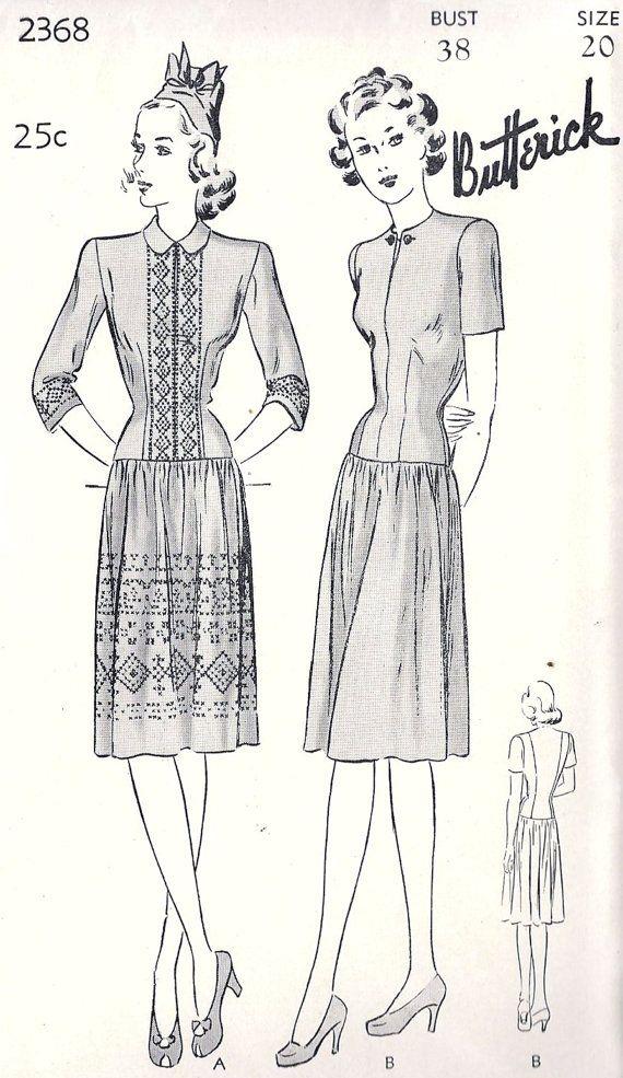 1940s Misses Dirndl Dress | Retro | Pinterest | Figurin, Moda ...