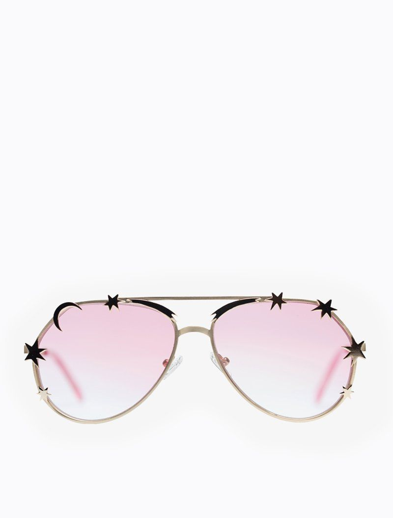 ff6080c1ef Light gold aviators decorated with gold metal stars