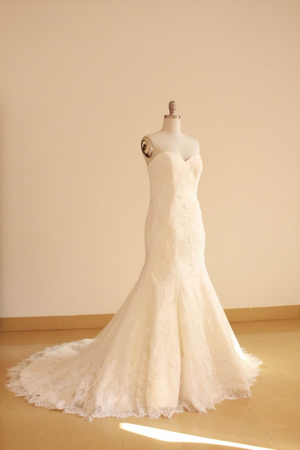 Mermaid Sweetheart Lace Wedding Dress with Removable by Whitesrose, $428.00