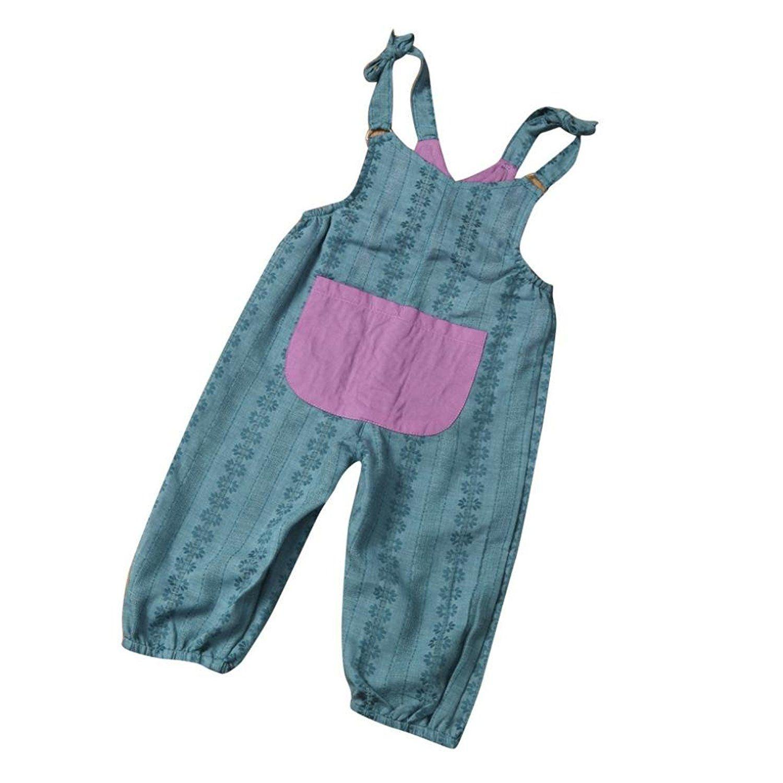 f72efb2a595 Amazon.com  Sunbona Newborn Baby Girls Fashion Floral Sleeveless Jumpsuit  Romper Strap Pants With