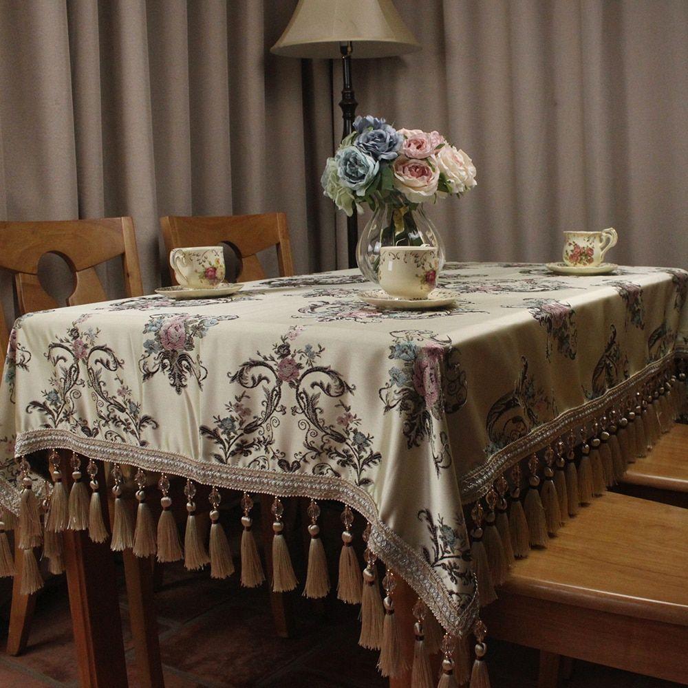 Light Yellow Jacquard Luxury Table Cloth Rectangular Home