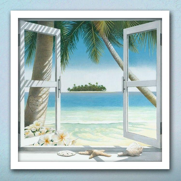our island getaway personalized art - Window Frame Wall Art