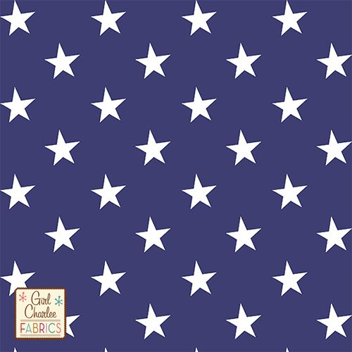 9cf723f0f3d White Stars on Blue Cotton Spandex Knit Fabric - A Girl Charlee Exclusive!  From the Girl Charlee Collection is a white repeating star design on true  navy ...