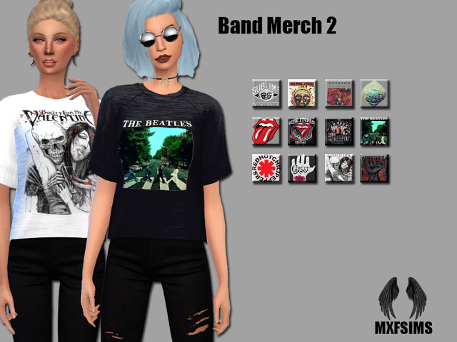 Sims 4 CC's - The Best: Band Shirts by MxfSims | Simming