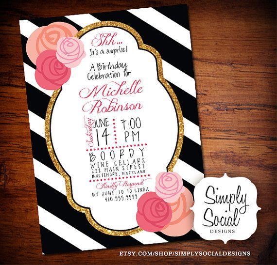 Surprise Birthday Party Invitation Black And White Stripes Gold - Black and white striped birthday invitations