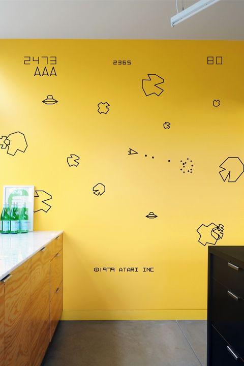 asteroids re stik murale mural salle de jeux. Black Bedroom Furniture Sets. Home Design Ideas