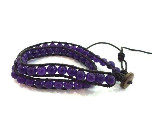New vintage style friendship weaving leather 2 wrap bracelet african jewelry natural stone bead handmade bracelet CL-0 * More info could be found at the image url.