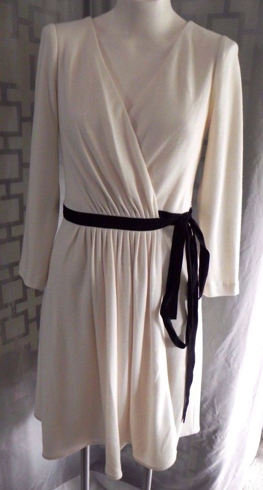 c28baf156d97 Women's Diane von Furstenberg Seduction Ivory/Black Lace Back Wool Wrap  Dress 8 #DianevonFurstenberg #WrapDress