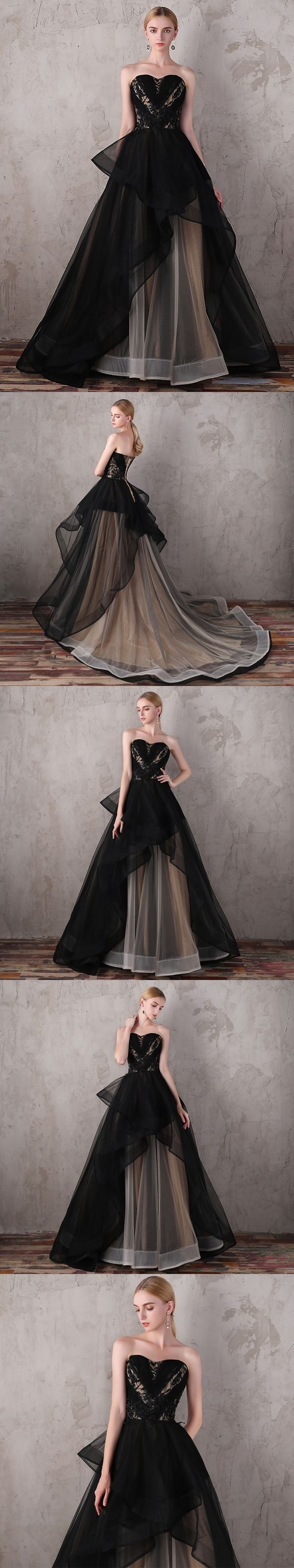 Black prom dresses sweetheart ball gown sweep train sexy long prom