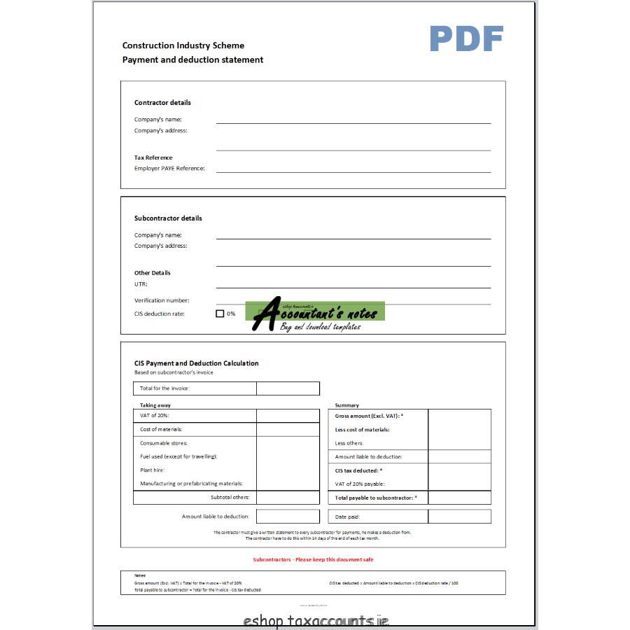Cis Single Payment Deduction Statement Template Accountant S Eshop Regarding Cis Invoice Template Subcontractor Invoice Template Statement Template Deduction