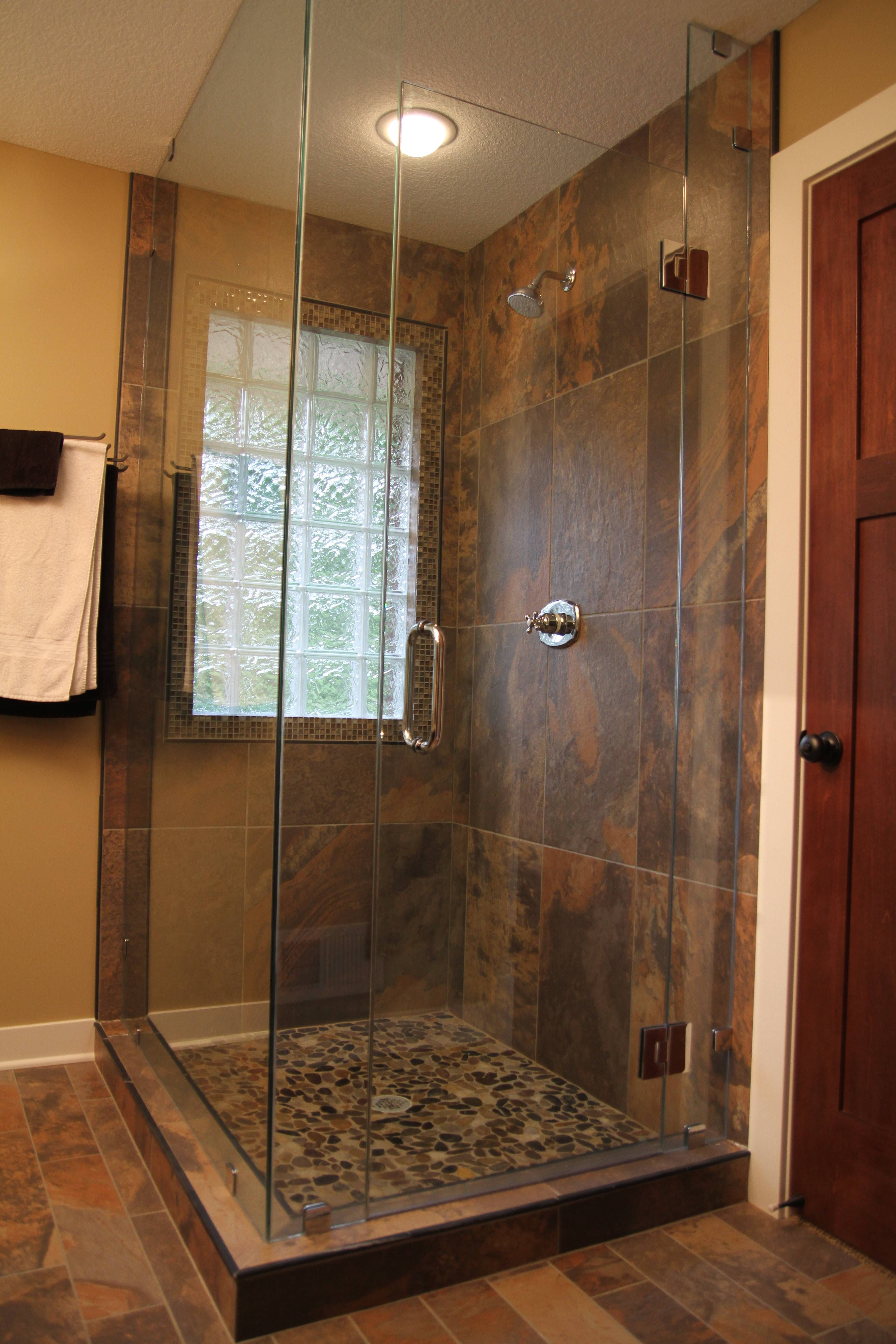 Custom shower 38 glass pebble tile floor porcelain tile with custom shower glass pebble tile floor porcelain tile with slate look glass block window doublecrazyfo Images