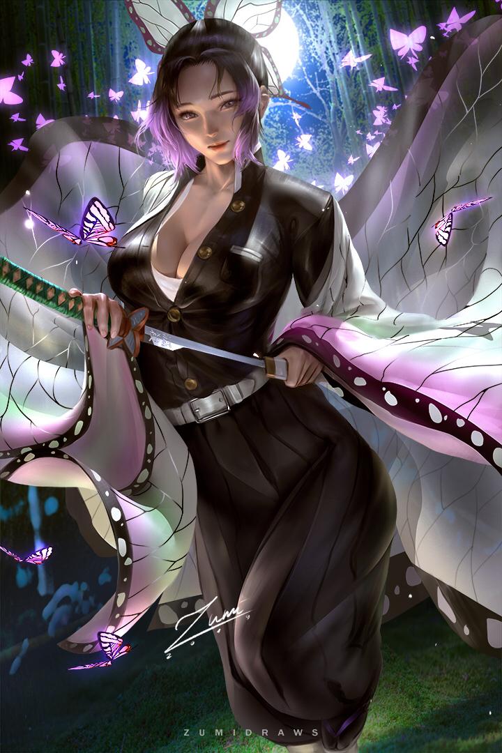 Shinobukocho, butterfly, girl / Shinobu pixiv【2020