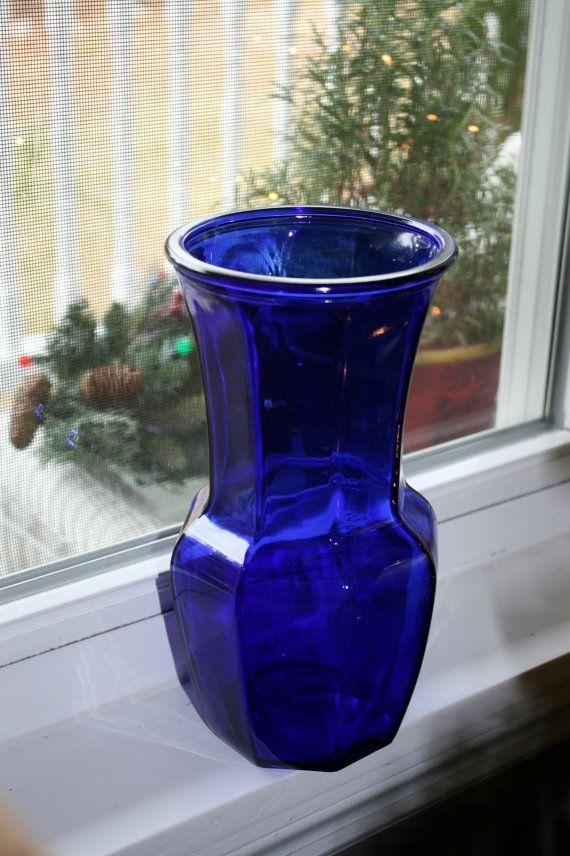 Cobalt Blue Flower Vase Glass Glassware Molded Pressed Bottle Cobalt