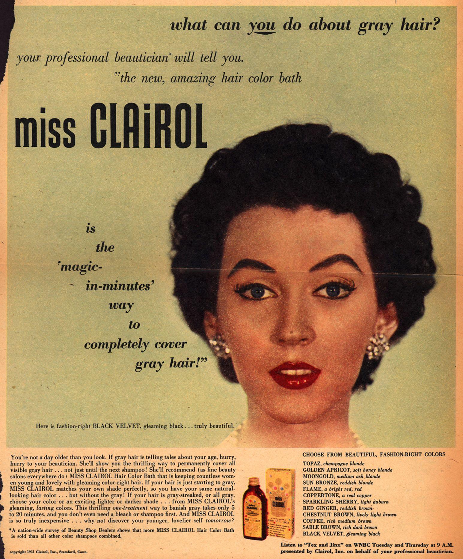 Miss Clairol Vintage Makeup Ads Vintage Hairstyles Vintage
