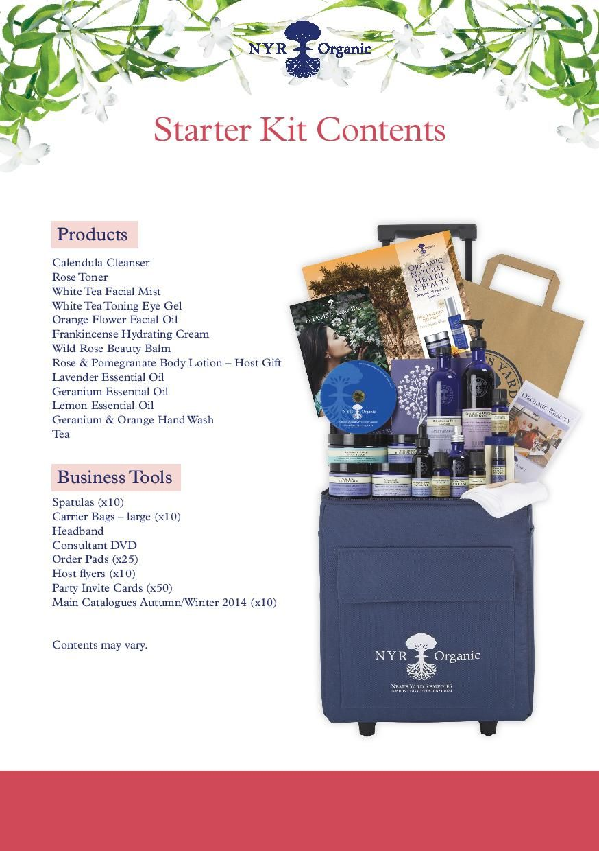 Starter kit contents. Join for just £60 today. Nyr