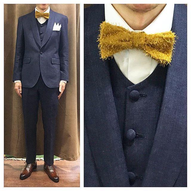linen suit. ネイビーショールカラーのスリーピース