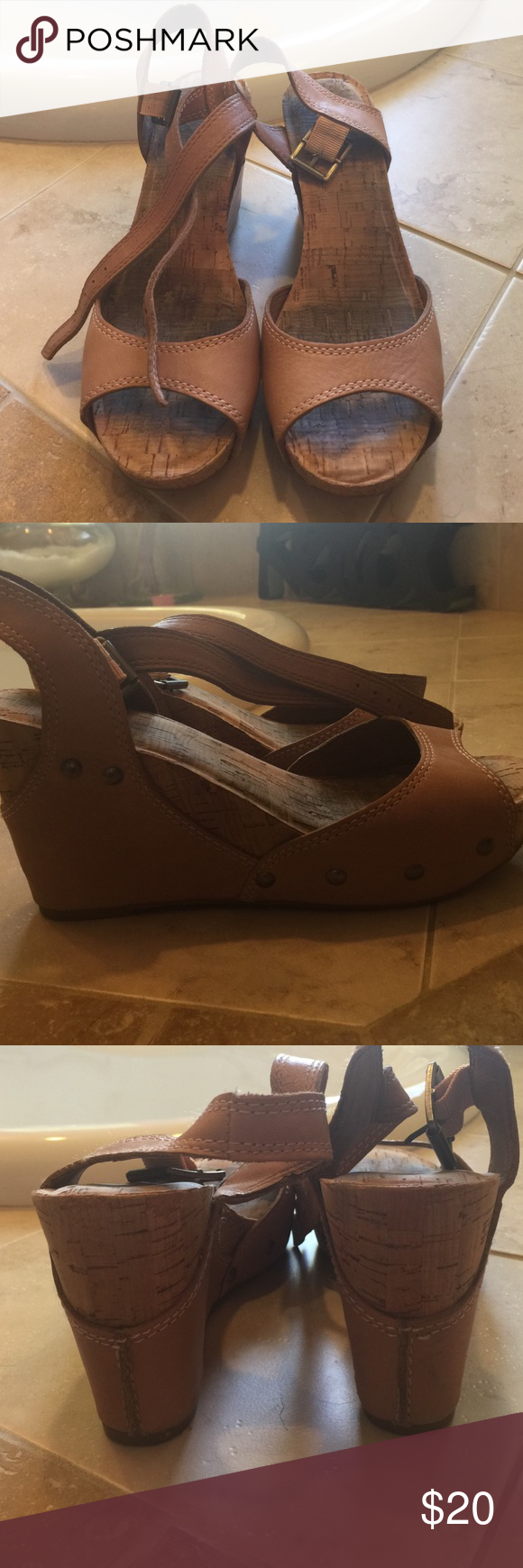 """Tan wedges Tan wedges with cork footbed and heel. 4"""" heel with 1"""" platform. Embellished with antiques bronzed hardware. Lucky brand Lucky Brand Shoes Wedges"""
