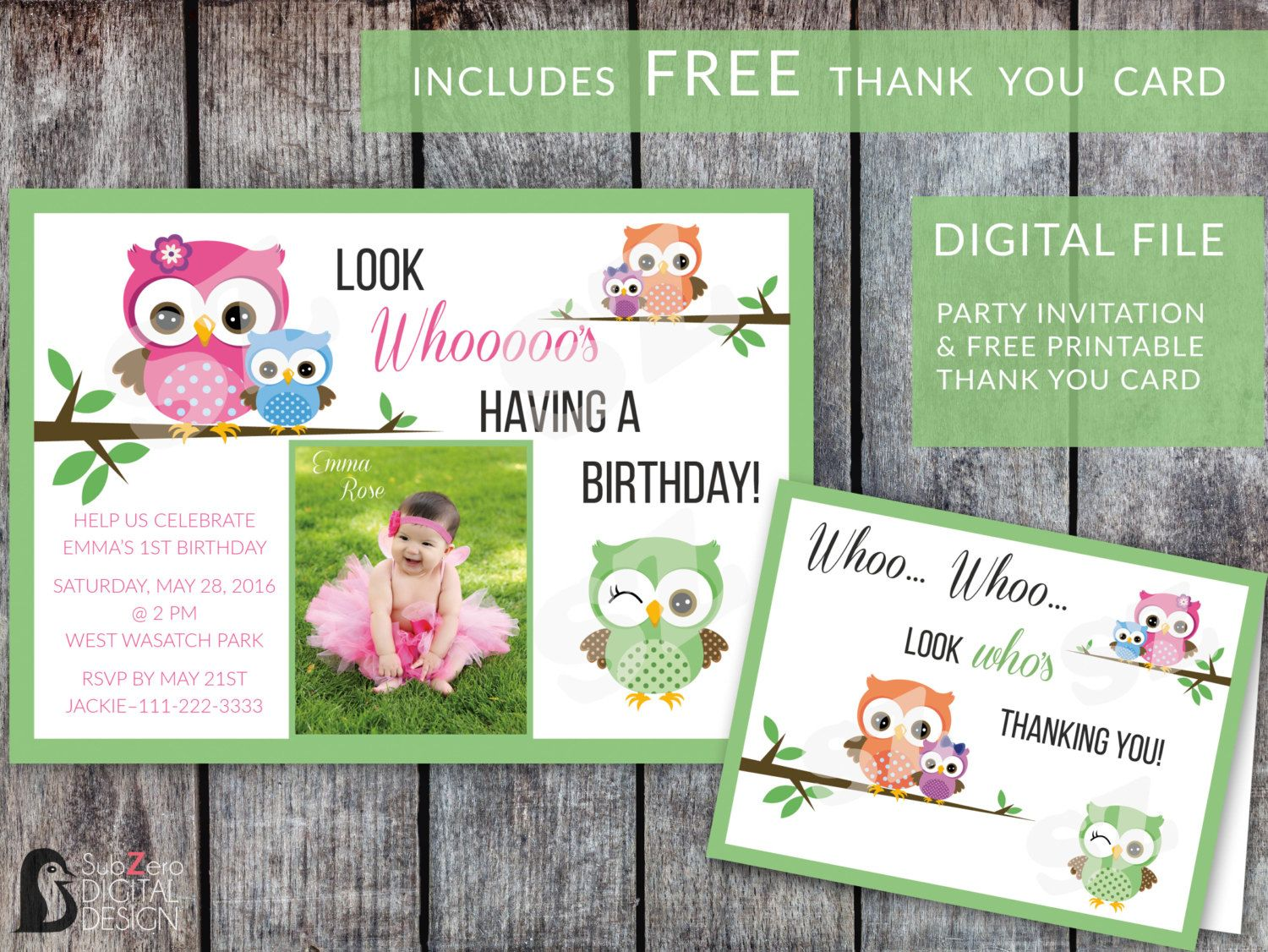 Celebrate That Special Birthday With This Darling Owl Invitation FREE Matching Thank