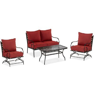 Garden treasures yorkford 4 piece conversation set for Small balcony furniture sets