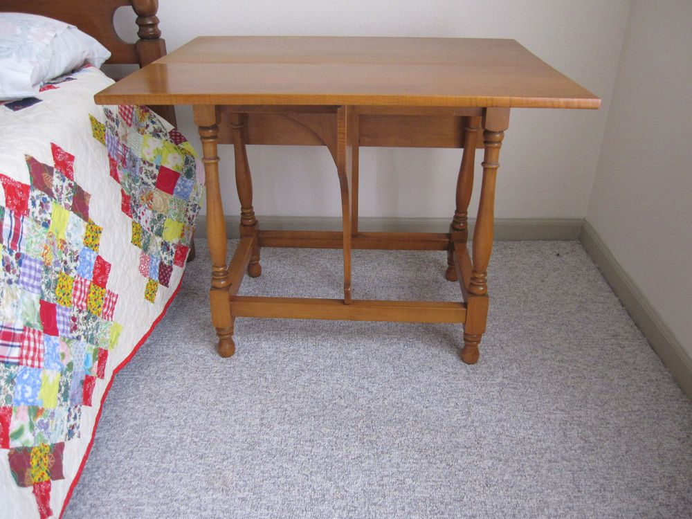 Willett Lancaster County Solid Maple Mid Century Pair End Tables Drop Leaf Gate