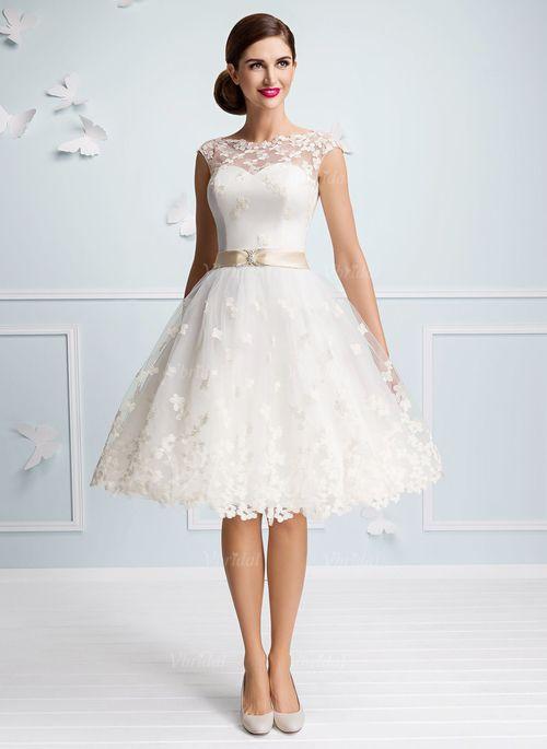 009778d9a7 Wedding Dresses -  124.92 - A-Line Princess Scoop Neck Knee-Length Satin Tulle  Wedding Dress With Sash Appliques Lace (0025102994)