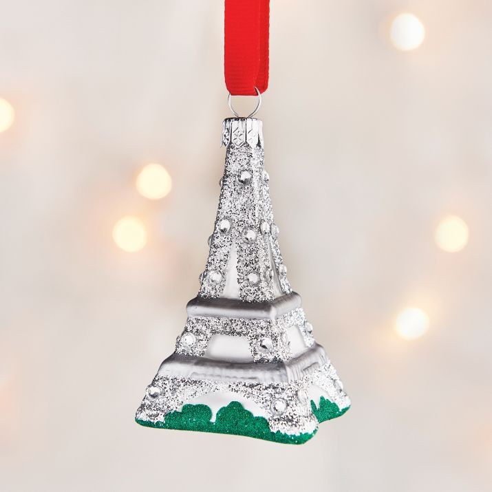 SLT Eiffel Tower, French Connection Very Sparkly Glass Ornaments