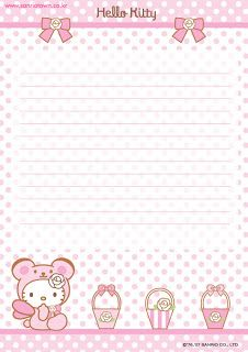 image about Printable Letter Papers known as Lovely Howdy Kitty totally free printable letter paper stationary