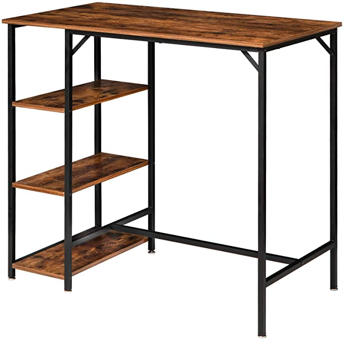 Amazon Com Ibuyke 40 H Bar Table Industrial Standing Computer Desk With 3 Storage Shelves High Dining T High Dining Table Bar Table Industrial Dining Table