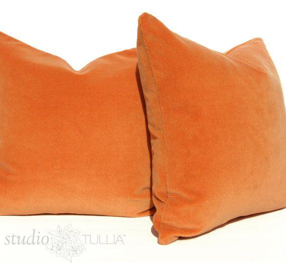 apricot orange velvet pillow covers