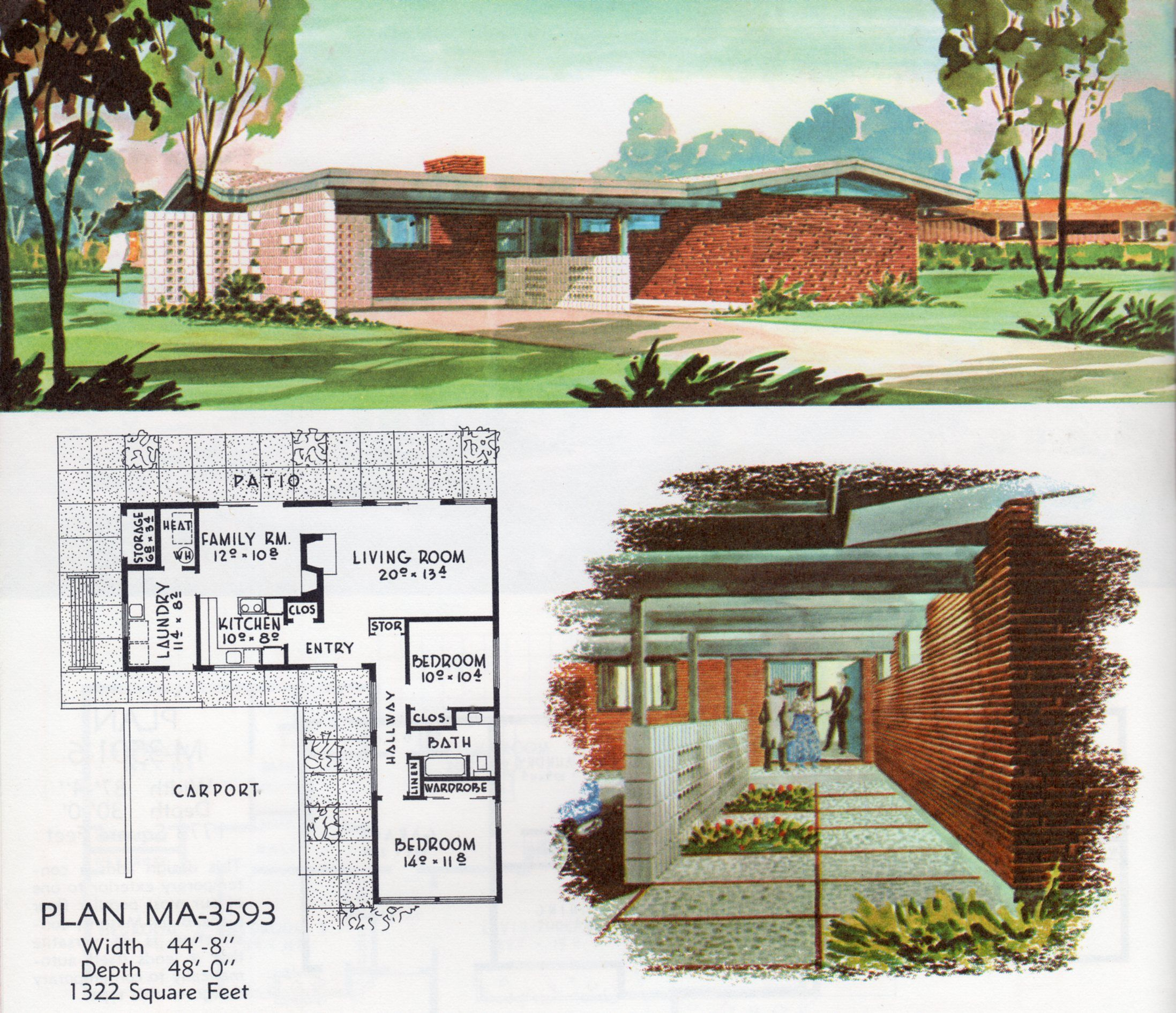 Mid Century Modern House Plans For Sale in 2020 | Mid ...