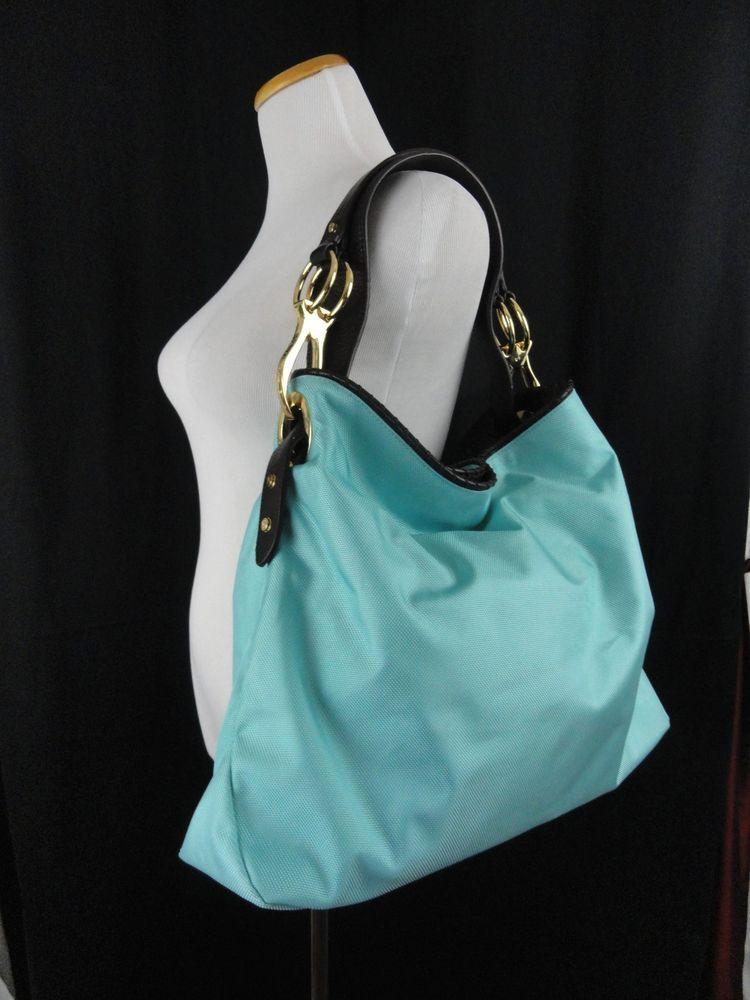 Jpk Paris 75 Exumas Nylon Large Bag Tote Leather Strap Turqouise Blue Jpkparis75 Shoulderbag