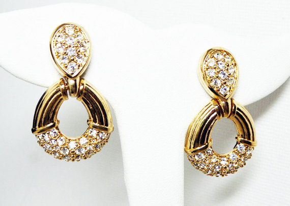 New Listings Daily Follow Us For Updates Pre Holiday Sale Shop Now And Save Swarovski Door Knocker Earring Clip On Earrings Earrings Clear Rhinestones