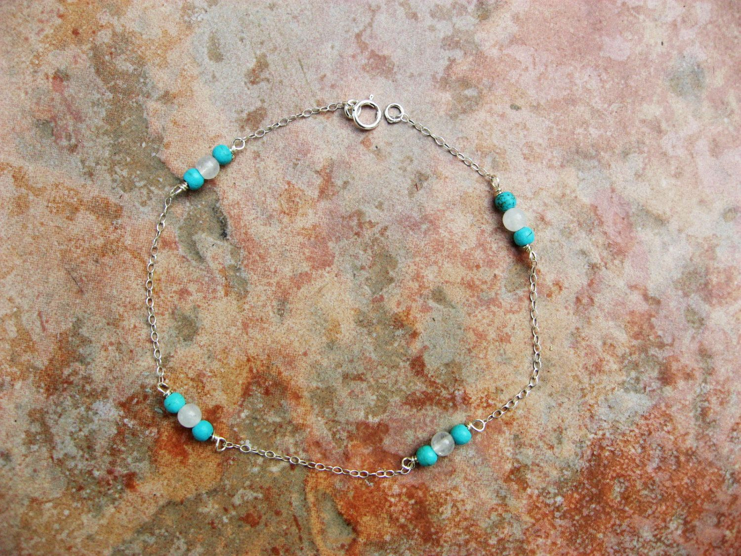 listing idea inspired jewelry s turquoise stack beach women bracelet ankle il ocean womens anklet woman under fullxfull bracelets gift man beaded boho stretch