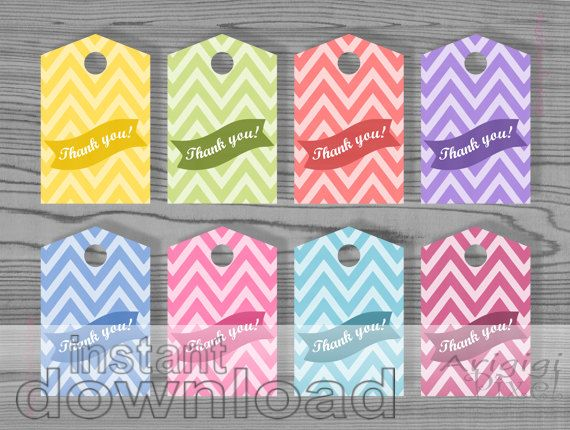 Thank You Hang Tag Text Over Bunting Pastel Colors Chevron Printable Gift Tags Instant Download