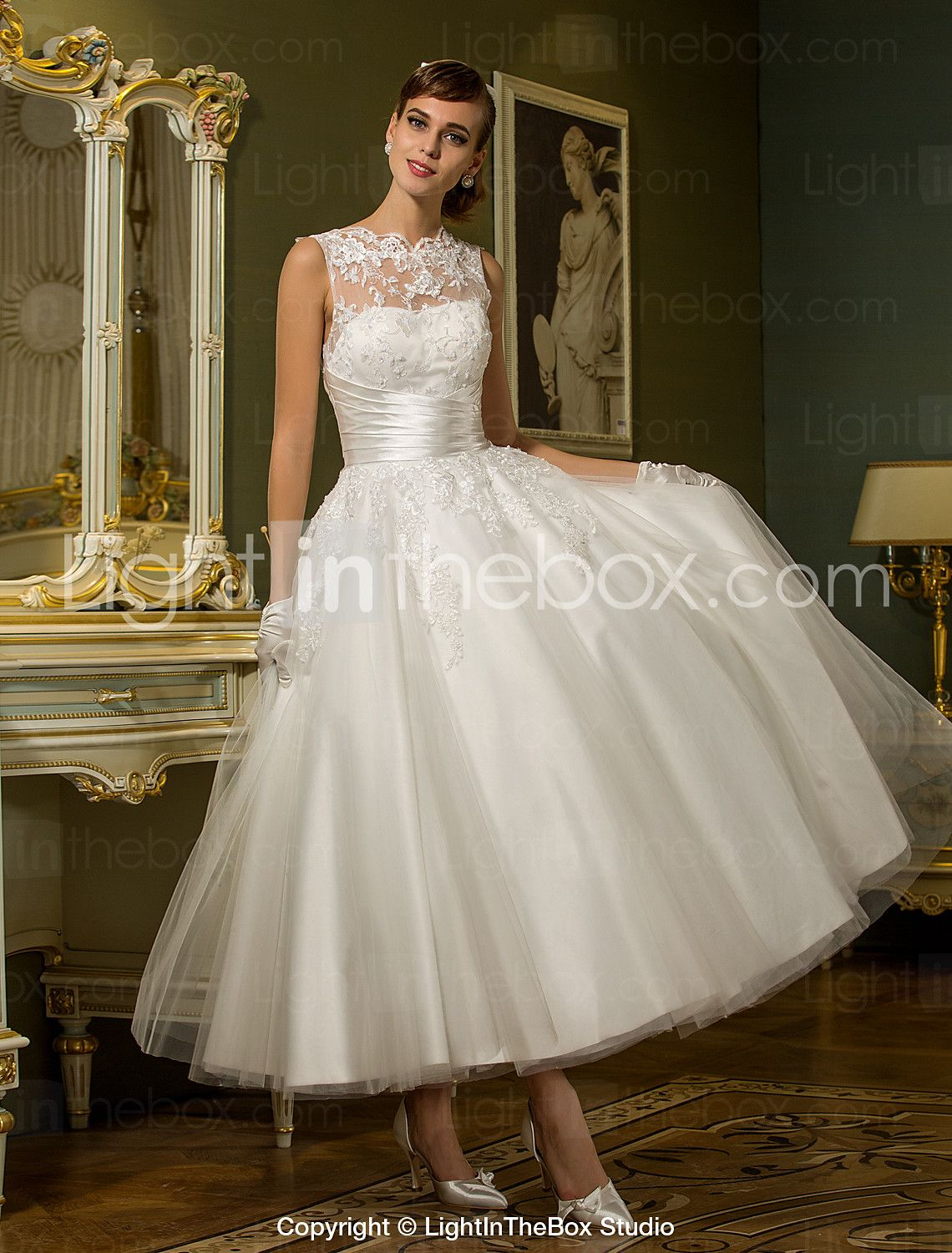 Princess Illusion Neckline Ankle Length Tulle Wedding Dress With Appliques Sash Ribbon Button By LAN TING BRIDER