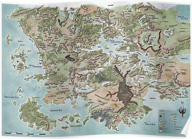 Map Of Faerun Poster Products Forgotten Realms Fantasy Map Map