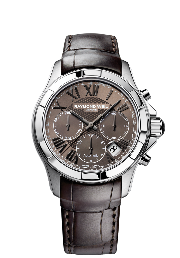 Parsifal 7260-STC-00718 Mens Watch - Parsifal Automatic chronograph Steel on leather strap brown dial   RAYMOND WEIL Genève Luxury Watches