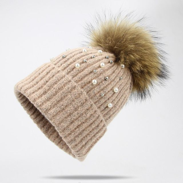 Pearl Wool Beanies Women Real Natural Fur Pom Poms Fashion Pearl Knitted Hat  Girls Female Beanie 546397533496