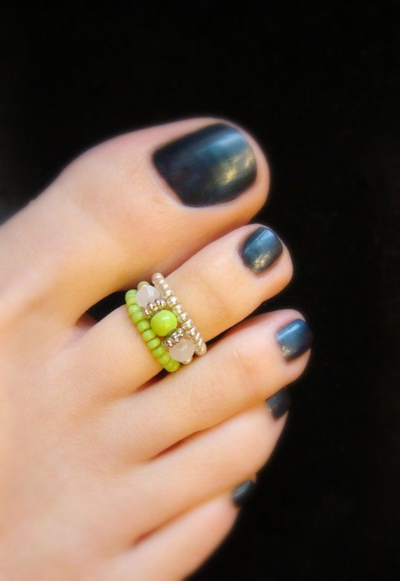Stacking Toe Rings Apple Green White Jade Crystal Stretch