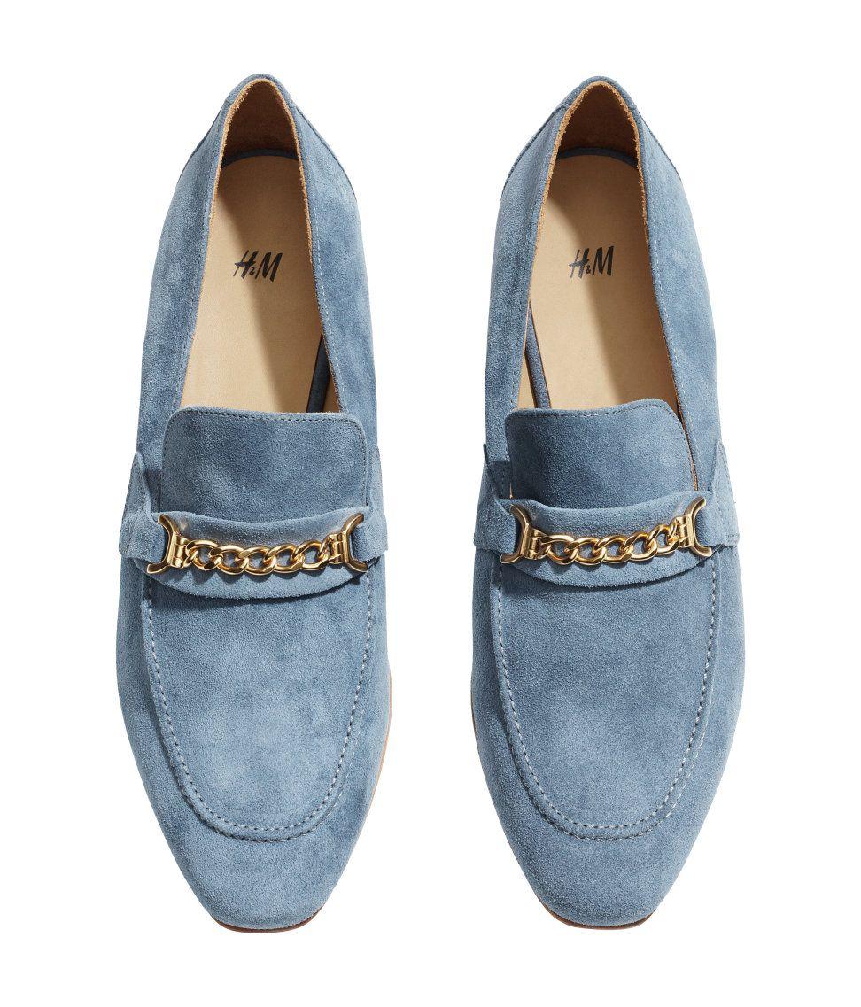 4477e16756a powder blue suede loafers. h m.