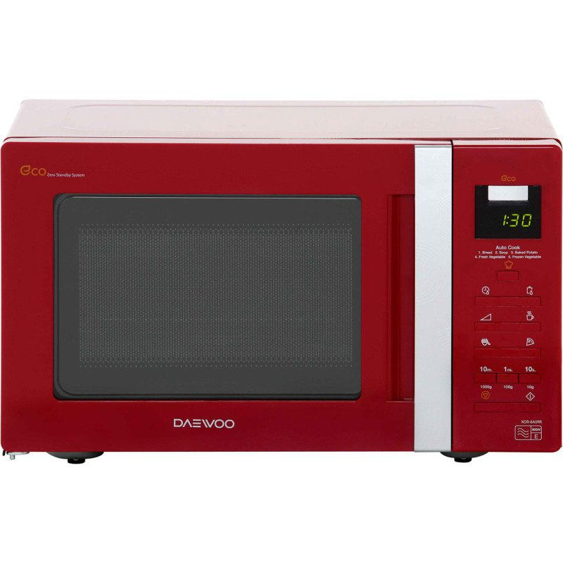 Daewoo Digital Eco Red Microwave Oven 20 Litre 800w Has A 1 Year Warranty