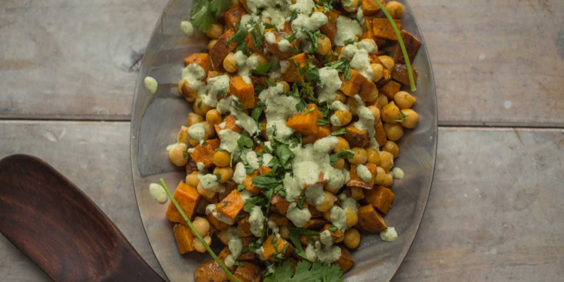 Sweet Potato-Chickpea Salad with Cilantro-Tahini Dressing - Relay Foods