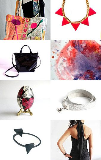 A Pomegranate Flag, Triangle Steam Punk and  Two Beautiful Women... by NeotericStudio on Etsy-- #fashion #fallwinter
