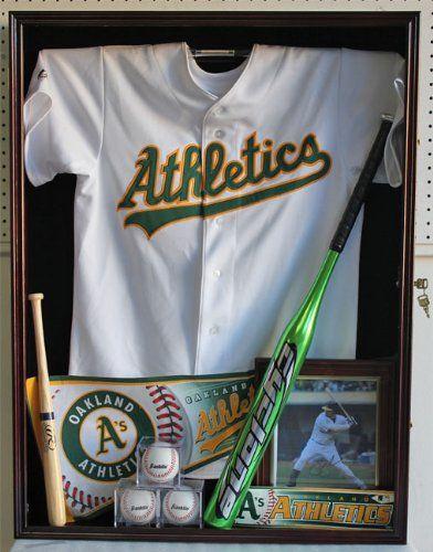 Baseball Display Case Wall Cabinet Shadow Box W//UV Protection Door