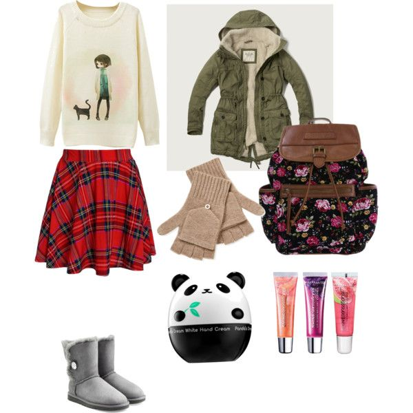 cute winter by sunny1004 on Polyvore featuring mode, Abercrombie & Fitch, UGG Australia, Qi Cashmere, Maybelline and Tony Moly