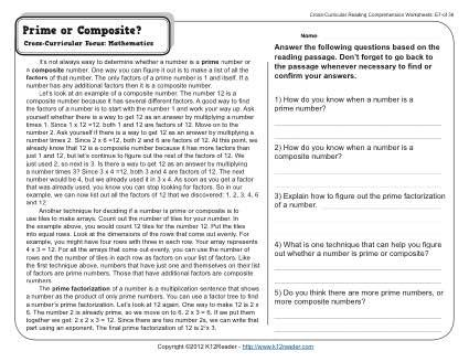Worksheets Prime And Composite Worksheet lesen and on pinterest