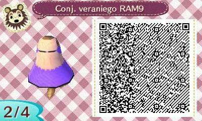 Este es un QR Code para Animal Crossing, creado por mí; como podéis observar, es un conjunto veraniego de color morado. [2-4]  Lo podéis encontrar en mi canal de YouTube: https://www.youtube.com/channel/UCh6uwa2CjSgR4WQ-ghRQY6Q (Roxy).  ¡Espero que os guste! ;)