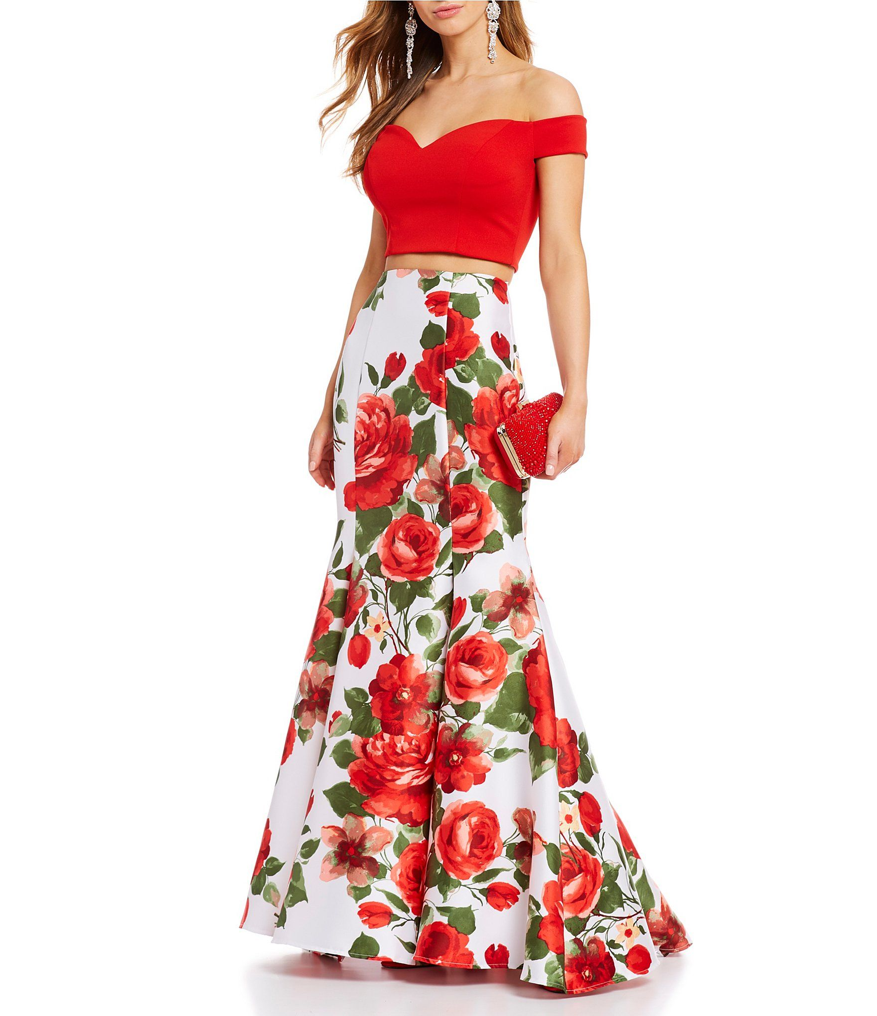 5f5cd3127ff6 B. Darlin Off-The-Shoulder Top with Floral Trumpet Skirt Two-Piece Dress |  Dillard's