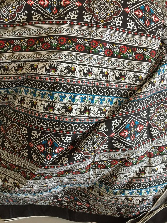 476435750b Elephant Print Fabric, Boho Fabric,Alternate Elephant Print,Multicolor print,  Indian Cotton