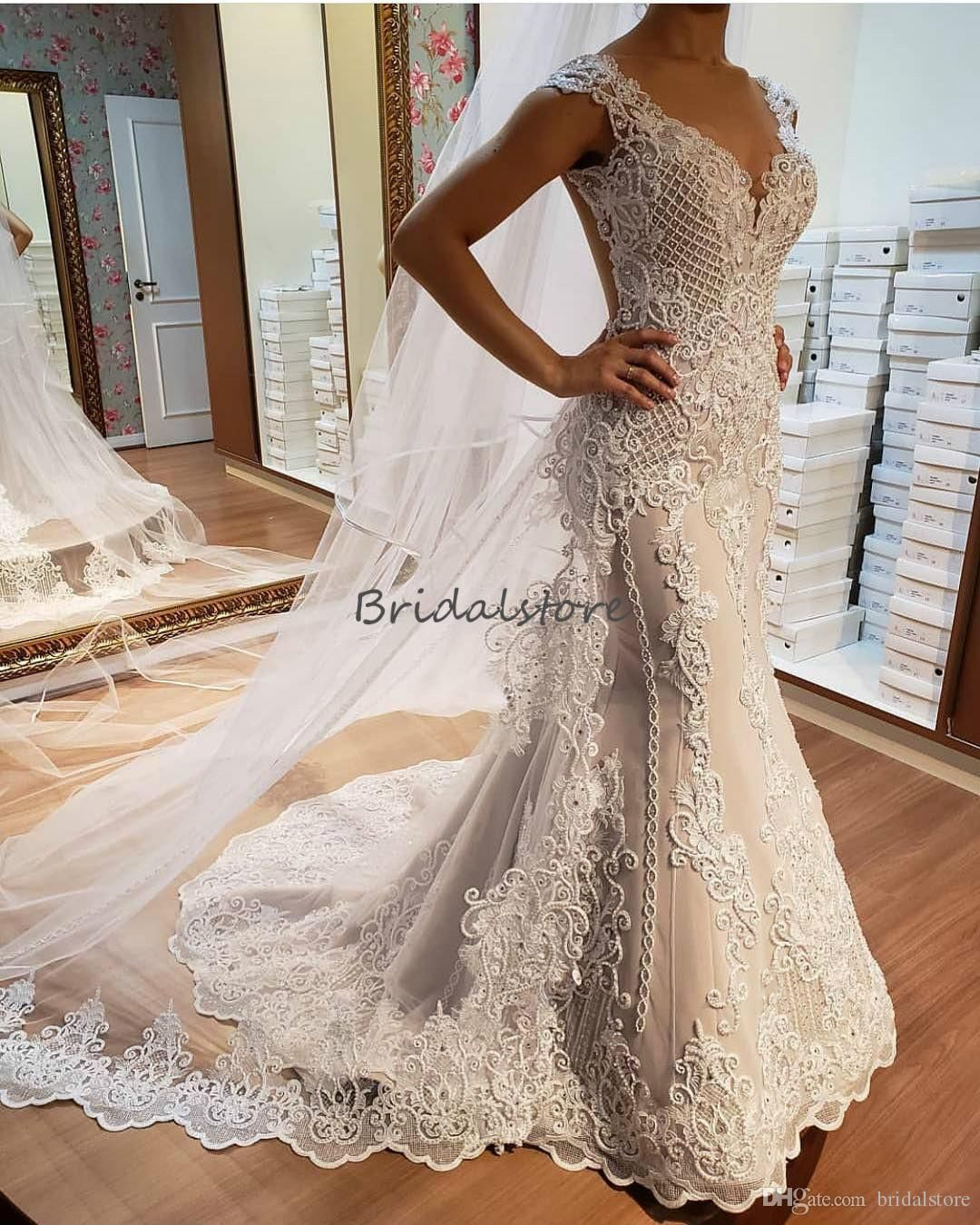 Discount 2019 Wedding Dresses A Line Satin Backless Sweep Train